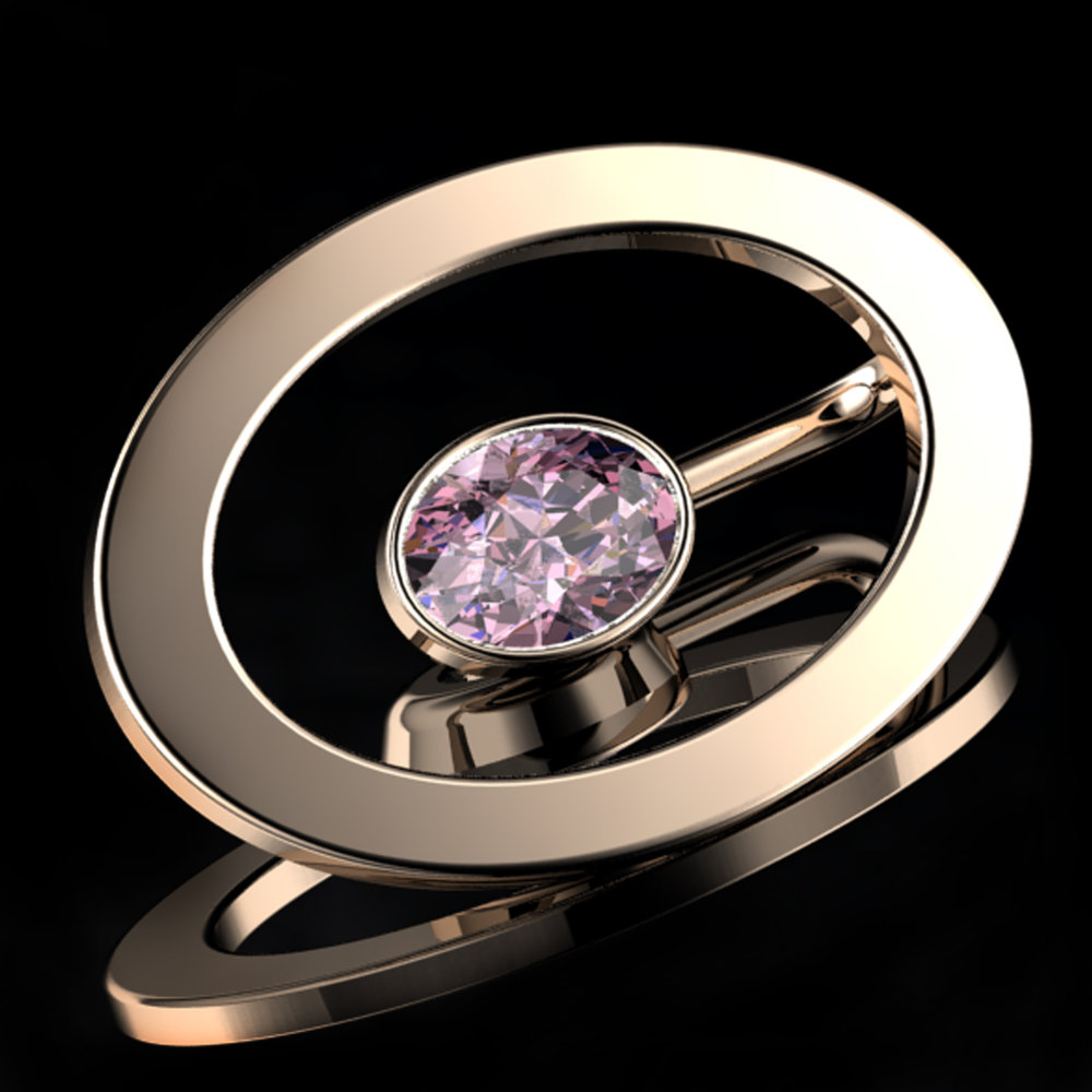 'ETERNO OVAL'® VIVID-PINK   Natural Oval-Cut Diamond • 0.64 Carats • Fancy Intense Pink / VS1  (G.I.A)  • 18K Rose Gold