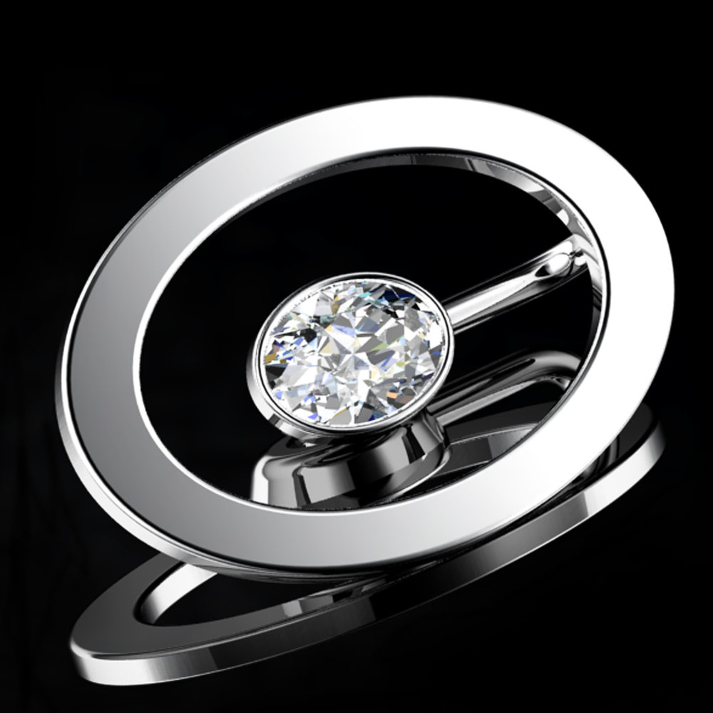'ETERNO OVAL'®  Natural Oval-Cut Diamond • 0.77 Carats • D / VVS1  (G.I.A)  • Platinum (Pt.950)