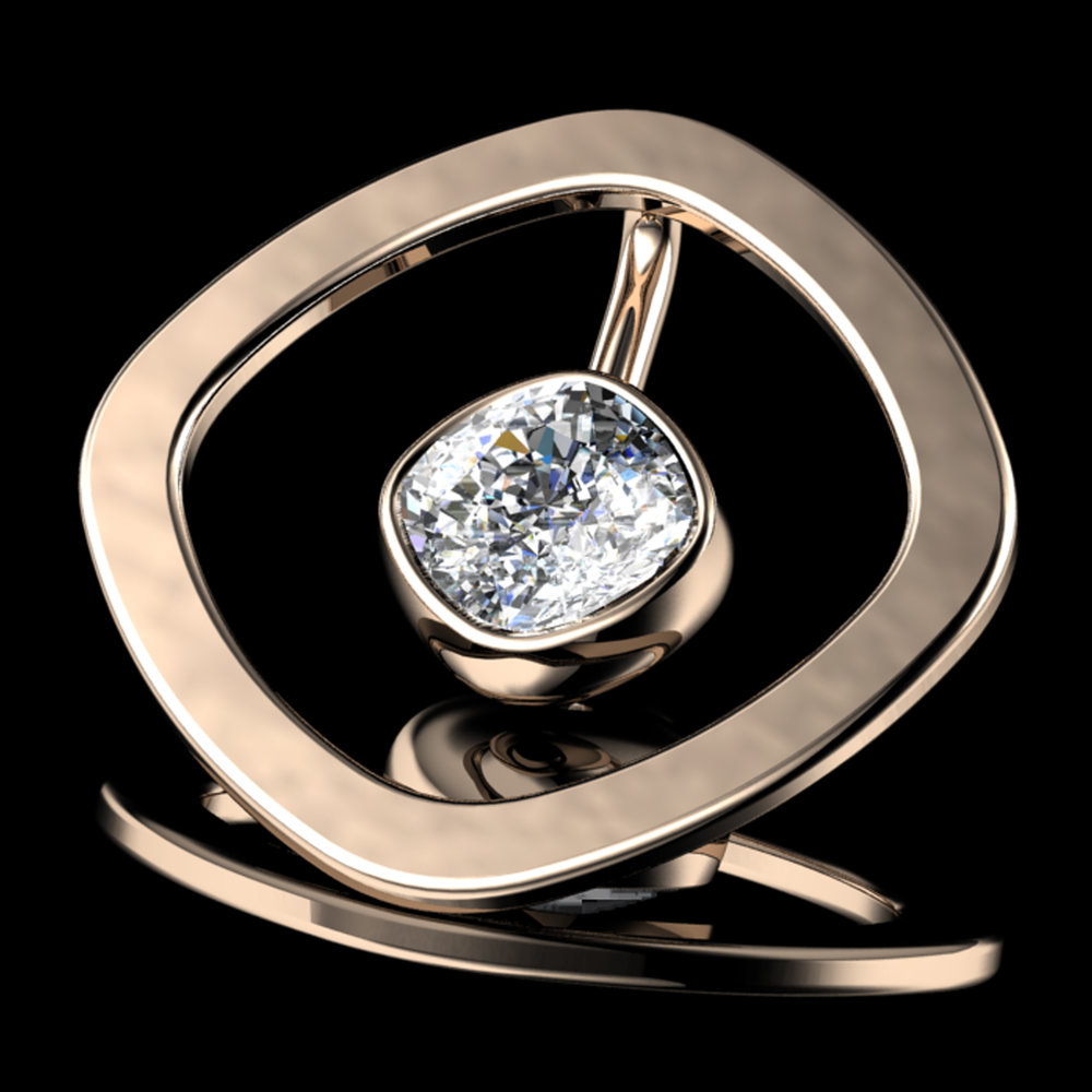 'ETERNO CUSH'® Natural Cushion-Cut Diamond • 0.89 Carats • F / VS1 (G.I.A) • 18K Rose Gold