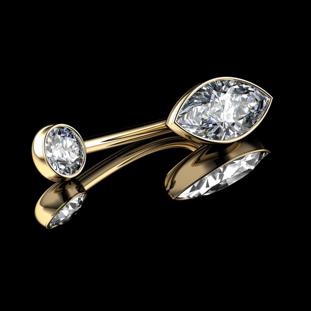 Natural Marquise-Cut & Round Brilliant-Cut Diamonds  • 18K Yellow Gold