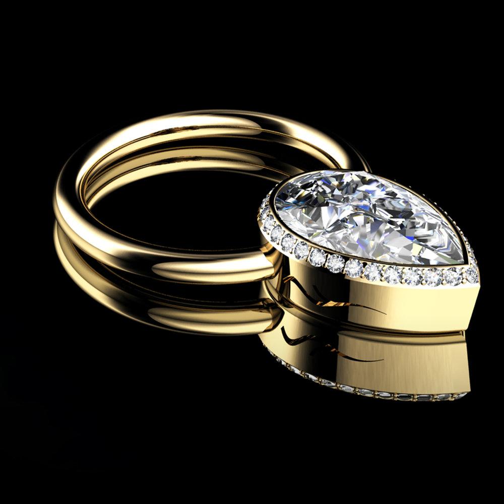 Natural Pear Brilliant-Cut Diamond • 1.01 Carats • F/VVS2 (G.I.A) • Diamonds Pavé• 18K Yellow Gold