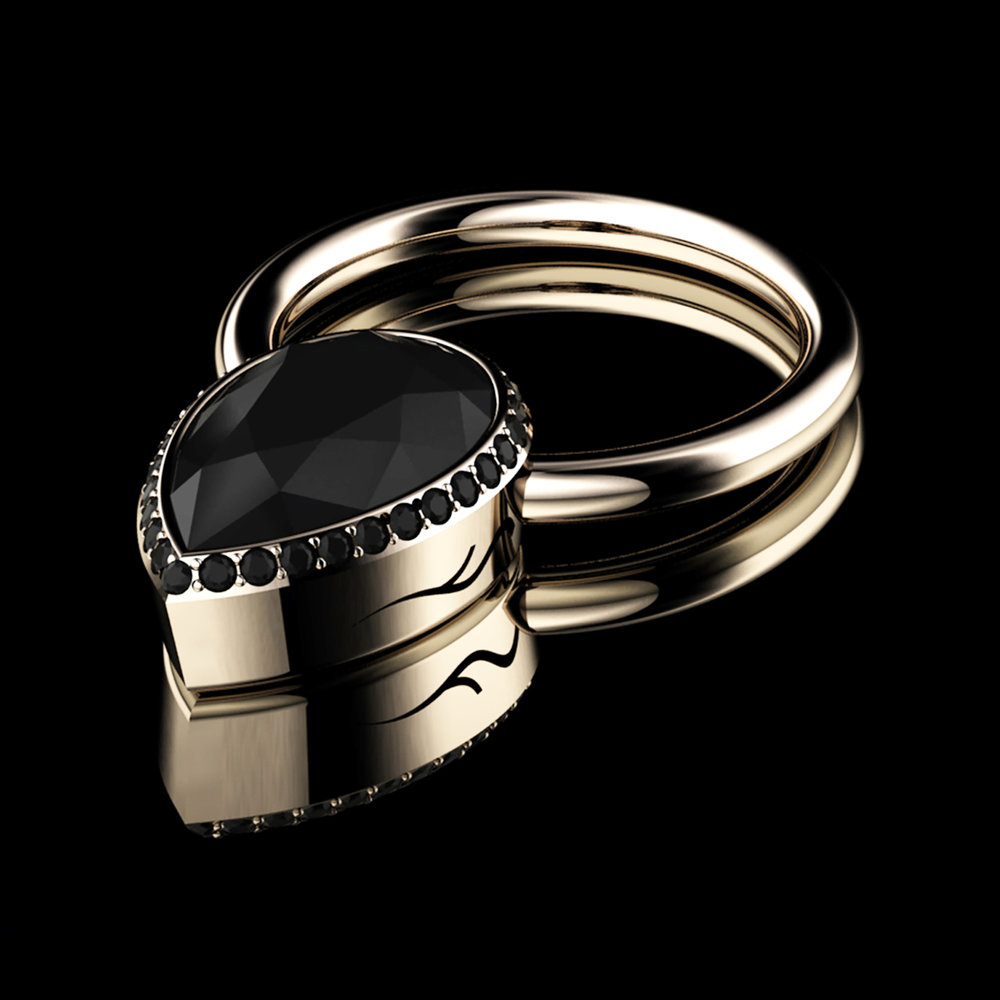 Natural Black Diamond • 1.18 Carats • Diamonds Pavé• 18K Rose Gold