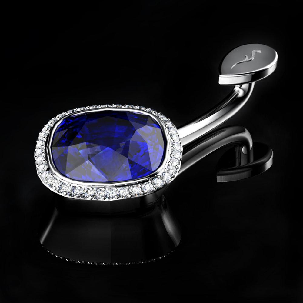 Natural Kashmir Sapphire • 1.48 Carats • Diamonds Pavé • Platinum (Pt.950)
