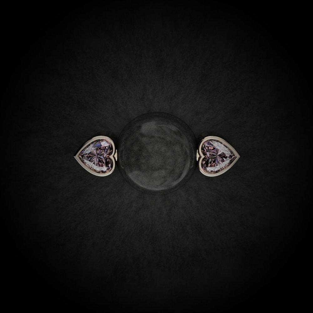 Natural Heart Brilliant-Cut Diamonds • 0.66 Carats • Fancy Intense Pink / VS1 (G.I.A) • 18K Rose Gold