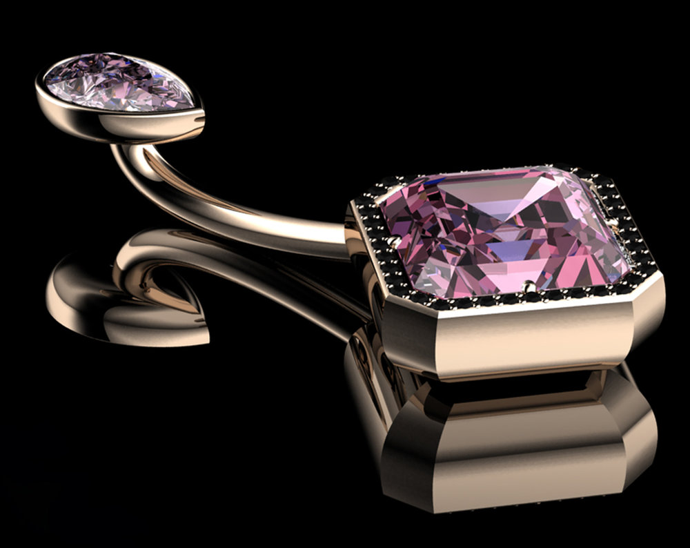 Natural Pear Brilliant-Cut Diamond • 0.35 Carats • Fancy Vivid Pink / VS1 (G.I.A) &Natural Asscher Step-Cut Diamond • 0.96 Carats • Fancy Vivid Pink / IF (G.I.A) • Black Diamonds Pavé• 18K Rose Gold