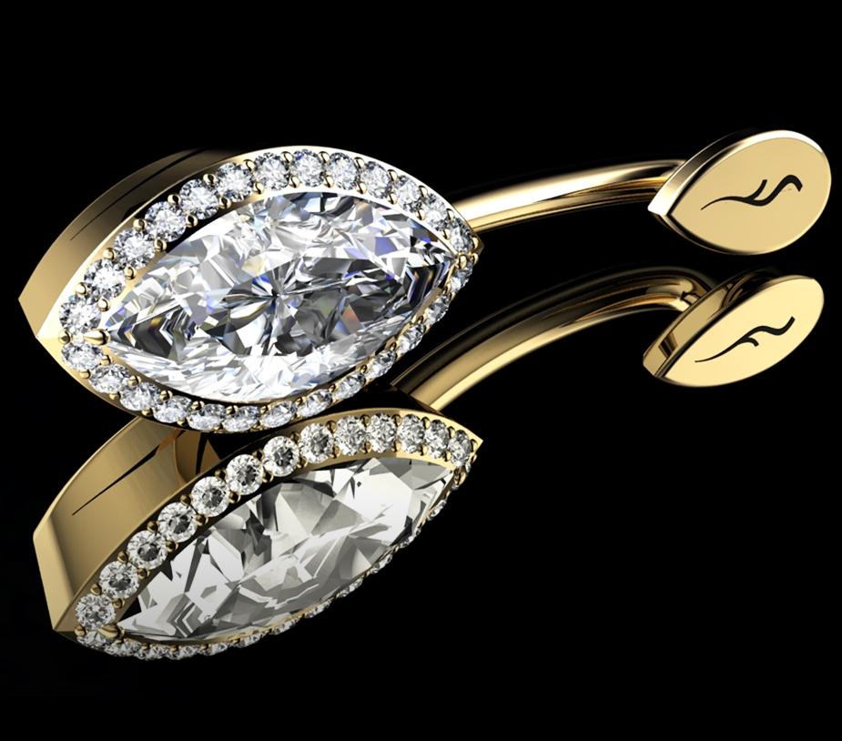 Natural Marquise-Cut Diamond • 1.48 Carats • E/VVS1 (G.I.A) • 18K Yellow Gold