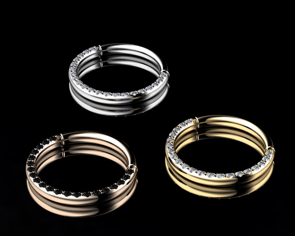 Natural Black & White Diamond • 0.28 Carats • Diamonds Pavé• 18K Yellow/White/Rose Gold