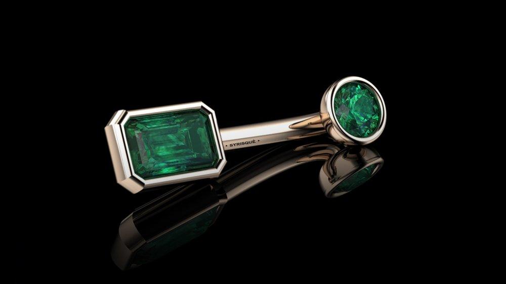 • Custom V.C.H • Natural Colombian Emeralds & 18K Rose Gold