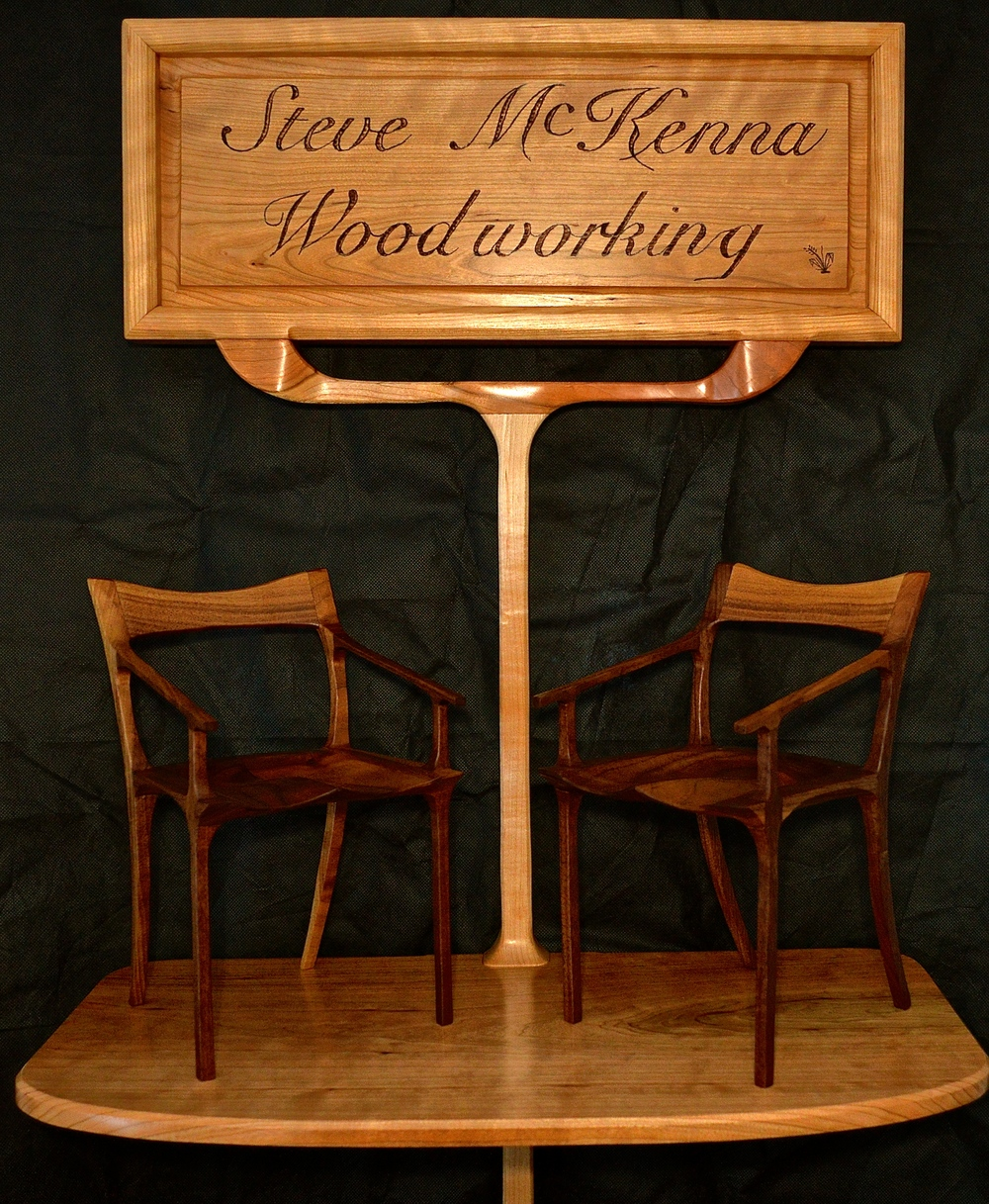 sign in cherry and maple, walnut chairs