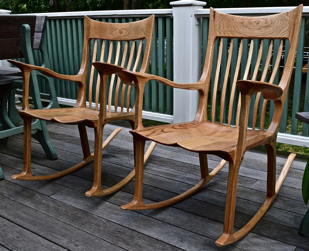 Pair Of Oak Rocking Chairsu0026nbsp;