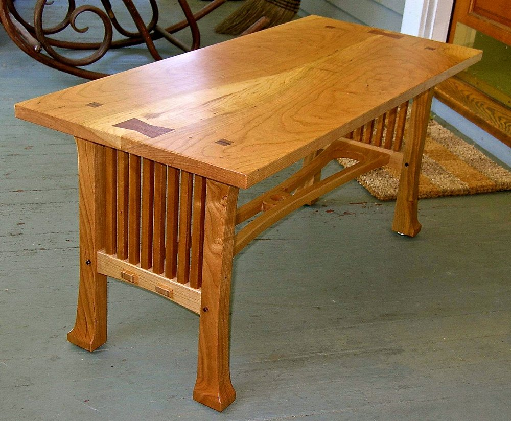 cherry craftsman style coffee table