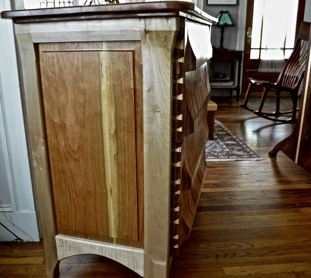 maple legs, rails, and top  cherry drawer fronts and backs