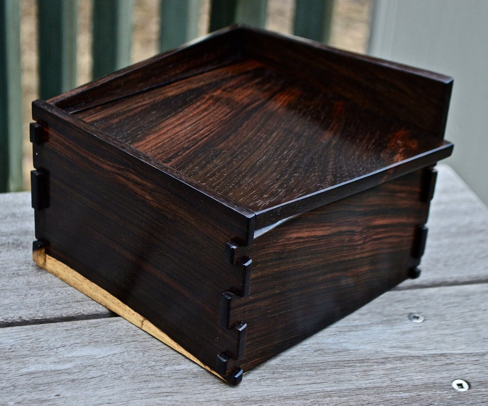 asymmetrical dovetailed rosewood box - spalted new growth lower left