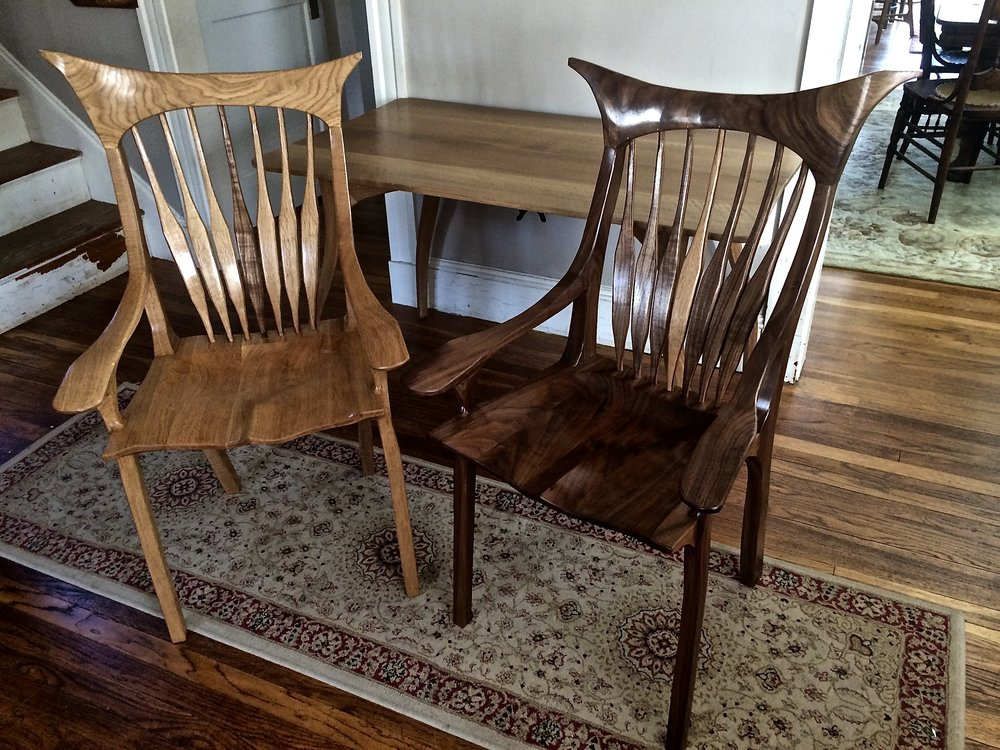 knockdown oak table and 2 chairs
