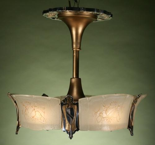 Art deco slip shade chandelier with unicorns aloadofball Gallery