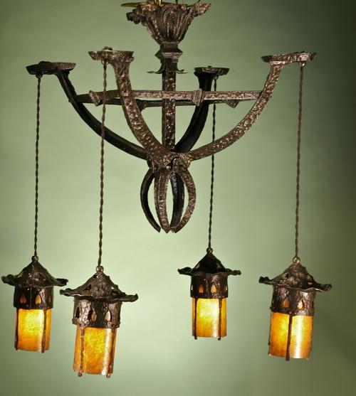 Hammered antique arts and crafts chandelier aloadofball Images