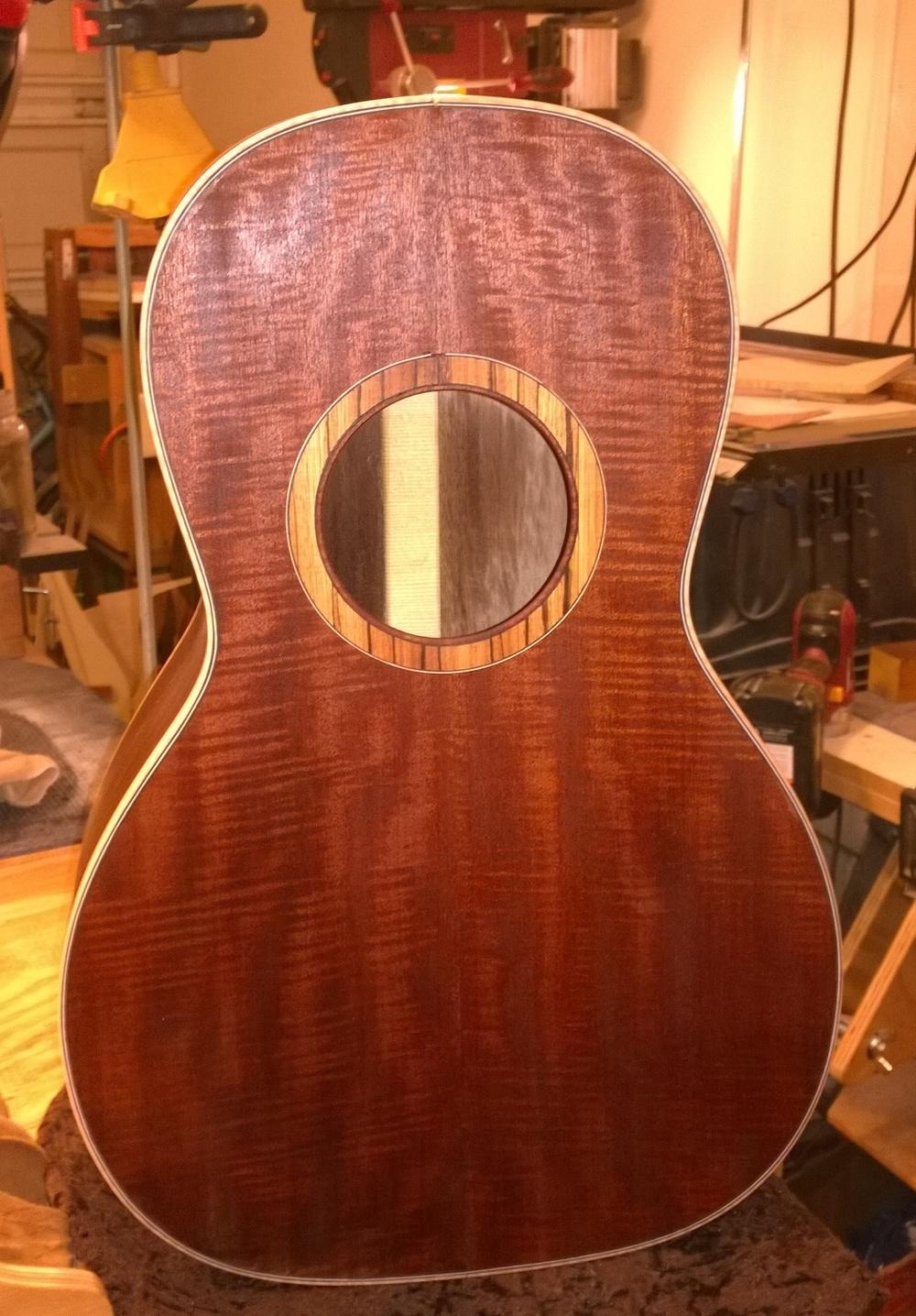 Hawkins Parlor Guitar Curly Mahogany