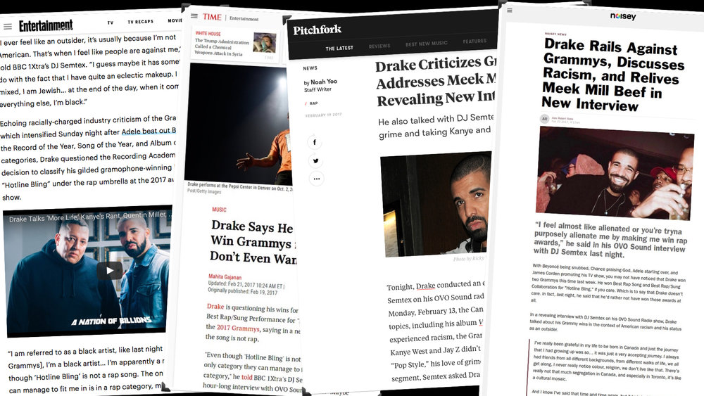 PRESS COVERAGE FROM THE WORLD EXCLUSIVE INTERVIEW WITH DRAKE FOR NATION OF BILLOINS