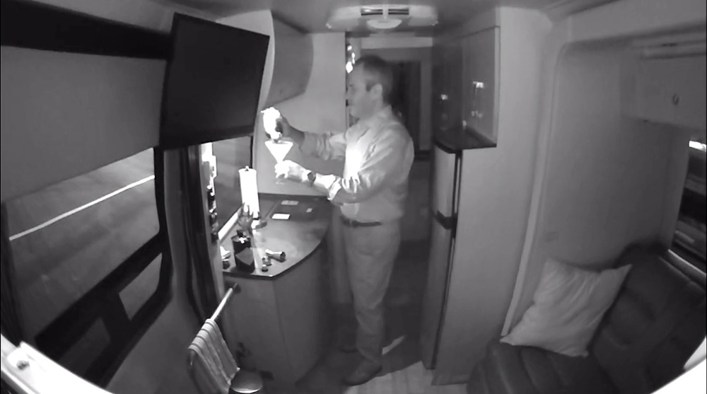 Piper NV nighttime video surveillance inside the van captures a suspicious person making himself a martini with my Hendrick's gin.