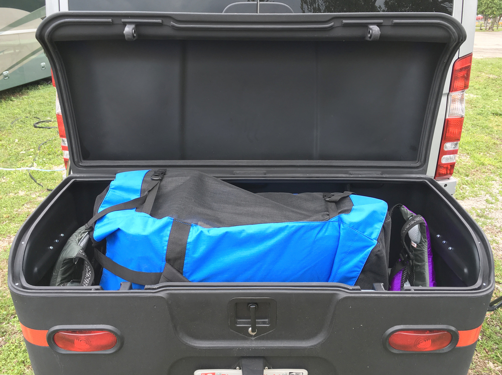 The cargo box has more than enough space to hold the backpack with kayak/seats/pump, life vests, and other gear like a  waterproof duffle bag  for our camera and binoculars.