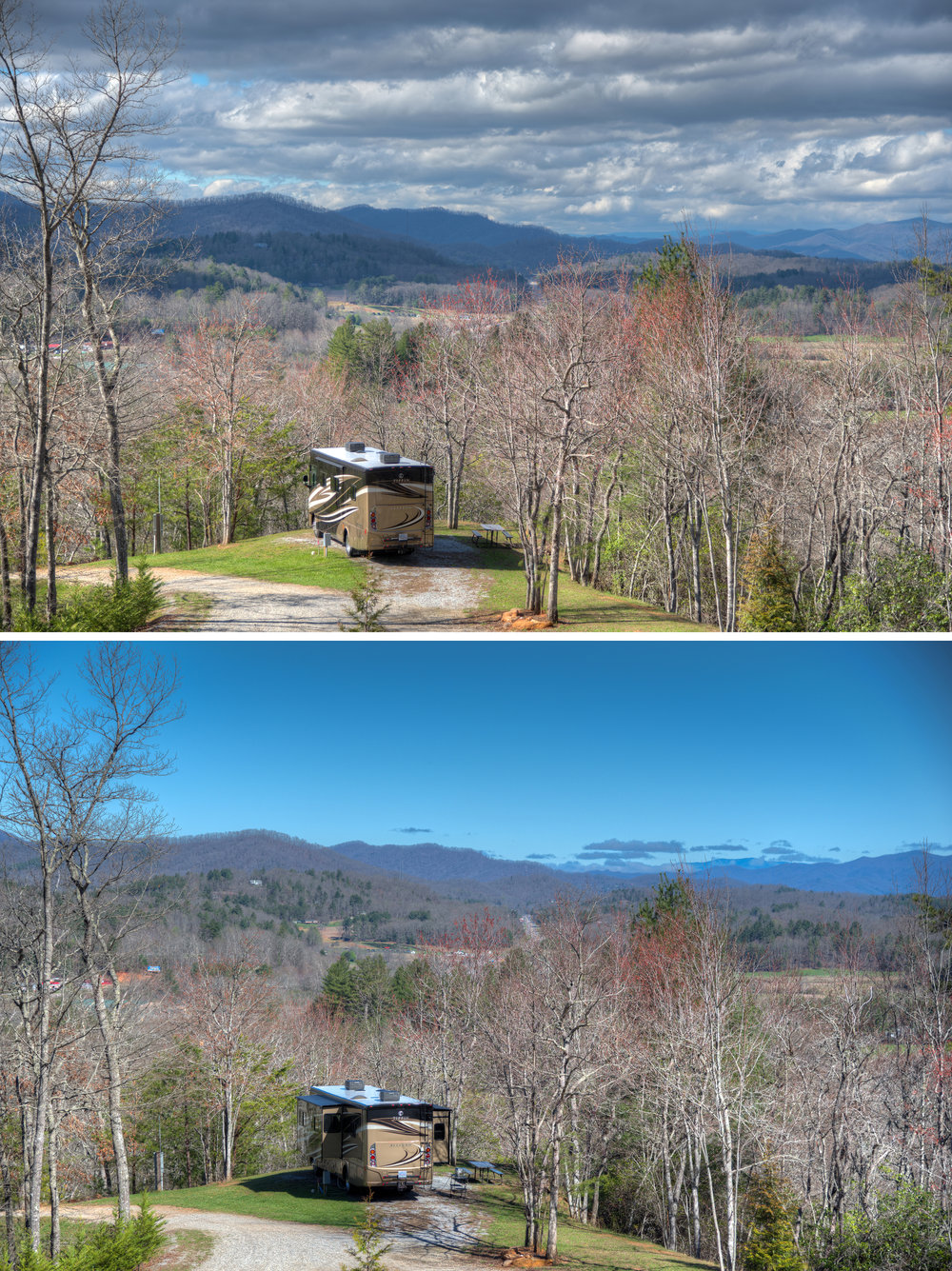 Afternoon and morning photos of our campsite at Cardinal Ridge Farm, with an early Spring view of the Blue Ridge Mountains of western North Carolina
