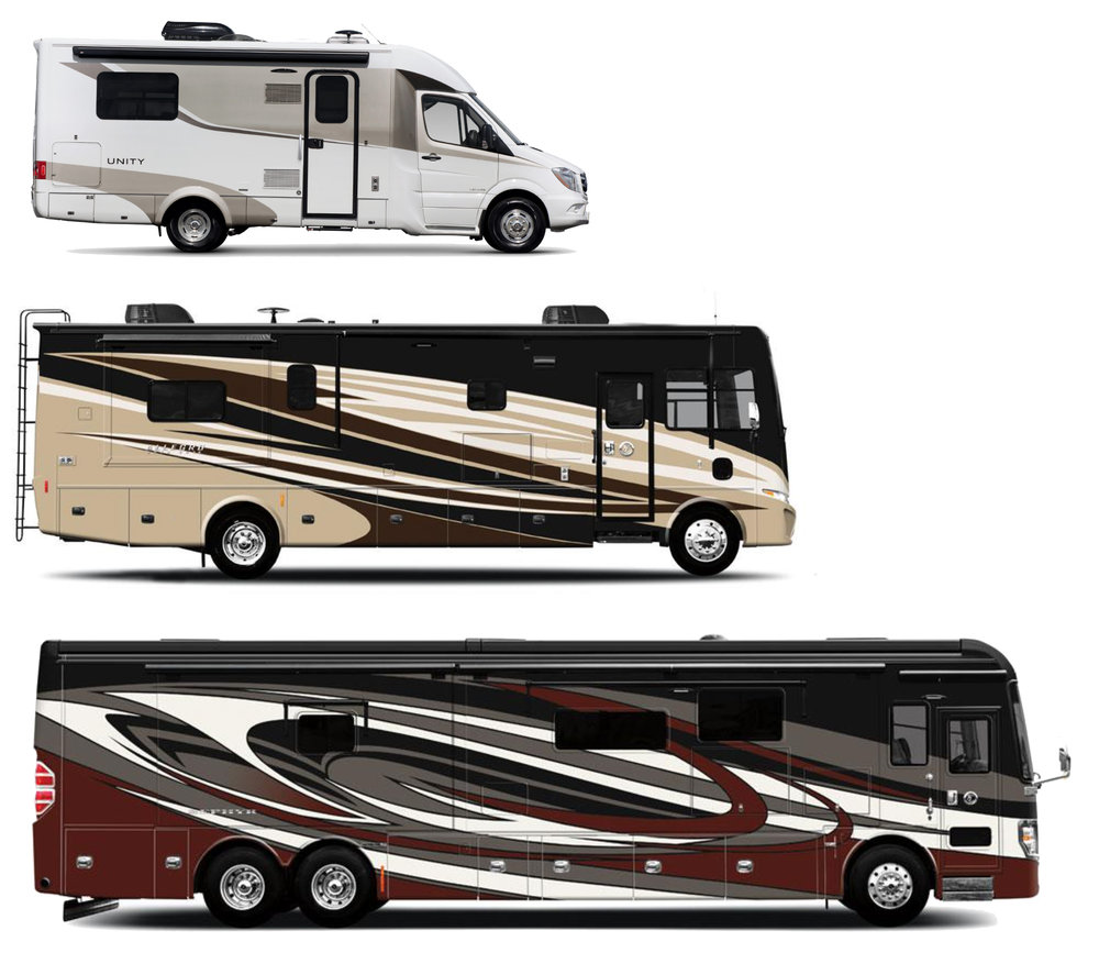The 25-foot-long Leisure Travel Vans Unity, the 35-foot-long Tiffin Allegro Open Road, and the 45-foot-long Tiffin Zephyr.