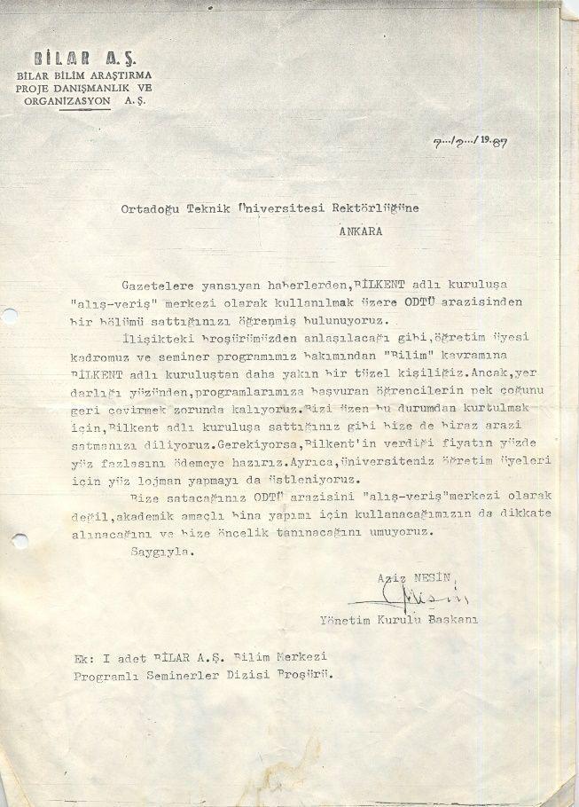 - Aziz Nesin'in ODTÜ'ye Mektubu