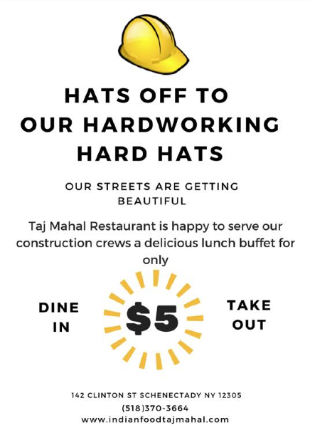 $5 lunch buffet for all construction workers during the July 2016 renovations in Downtown Schenectady.