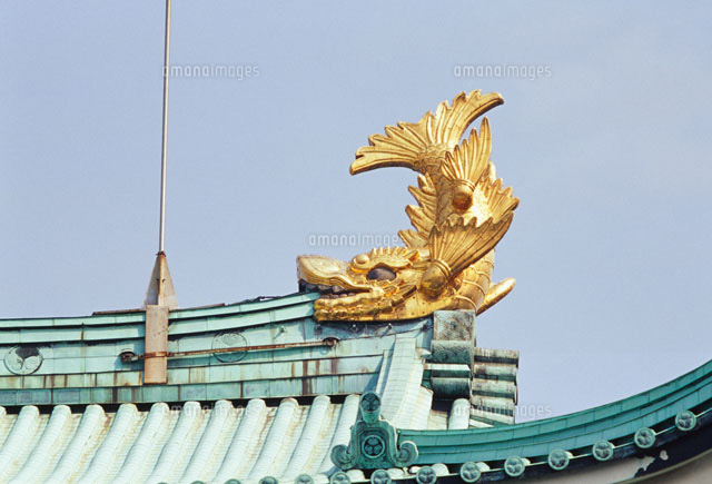 Kawara-tiled roof with golden shachihoko