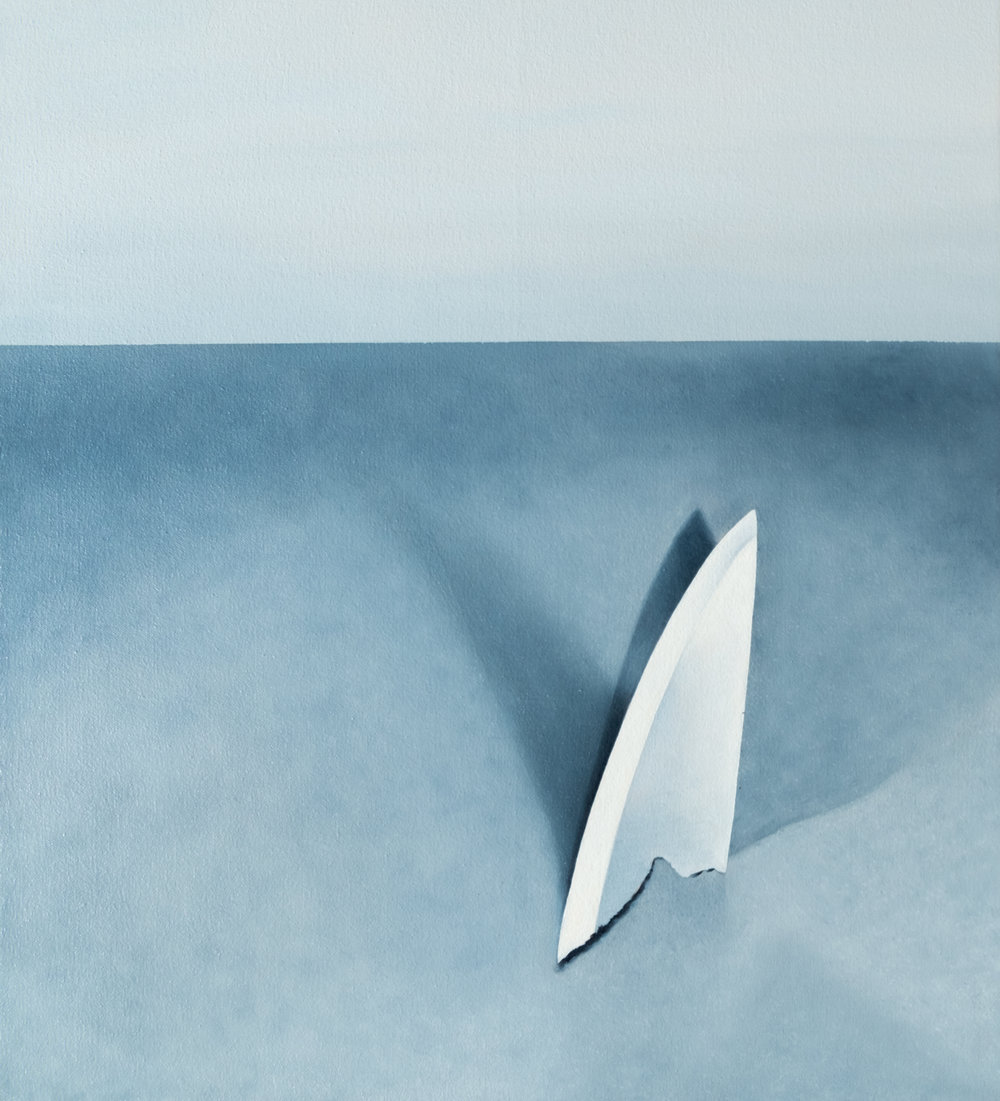 "Shark as a Knife  - 2018, Oil on canvas, 20""x22"""