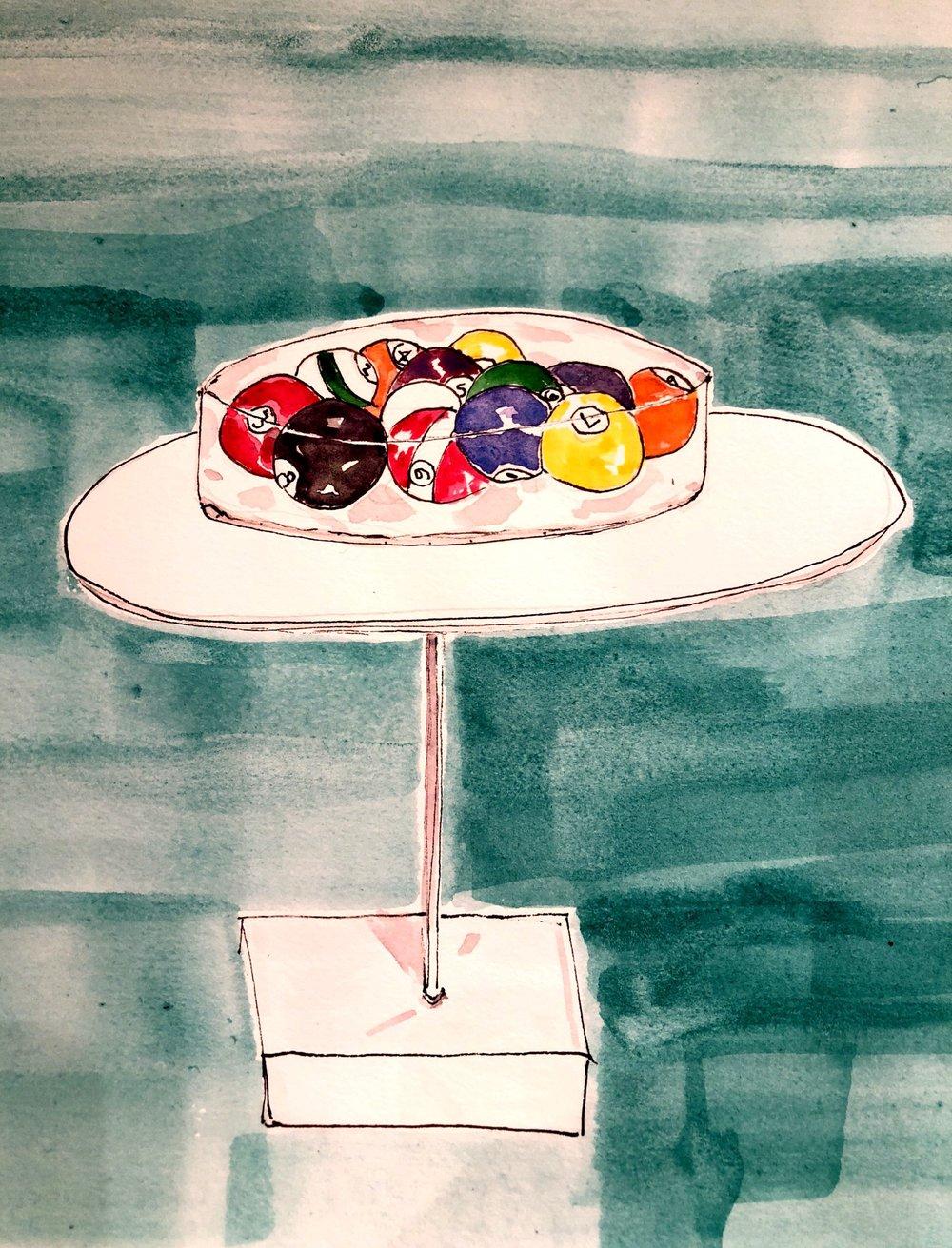 Billiard balls on display - drawing by Lisa Van Dusen