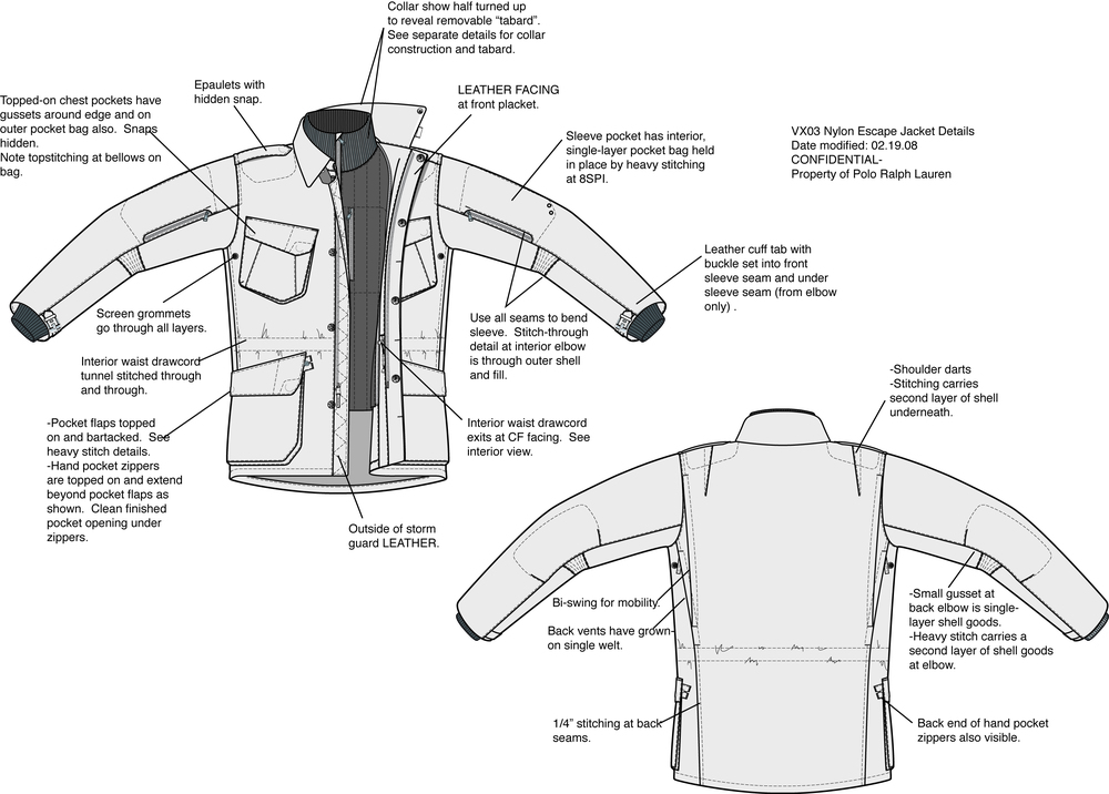 Nylon Escape Jacket sketch (2008)