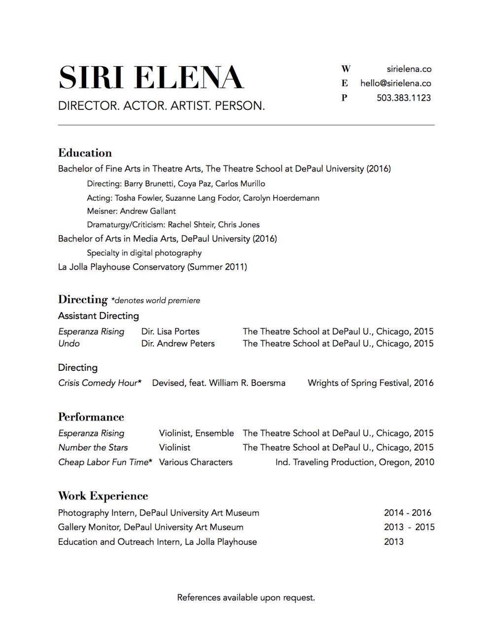 Siri Elena Directing Resume 060416