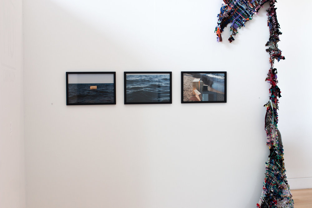 Installation photo of  Wreck  from AMD Senior Showcase Exhibition 2016   at DePaul University Art Museum in Chicago, Illinois. June 2016. Photo by Siri Elena. Work to right of  Wreck  by  Angela Guest .
