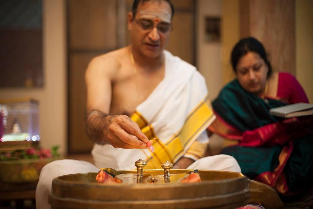 Sri Raghu Ranganathan performing Pada Puja at Bhaskara Prakasha Ashram