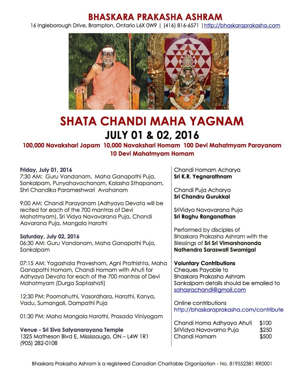 Shata Chandi Maha Yagnam 2016