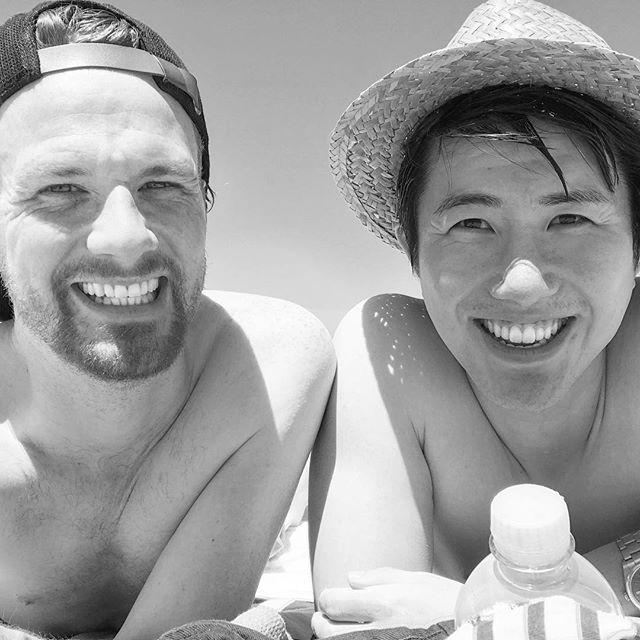 Manly beach realness with @memoway. Only severe sunburns.. . . . . #sydney #adventure #travel #beach #sun #summer #gaymelbourne #gaysydney #instagay #blackandwhite #gayboys