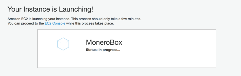Provisioning your EC2 instance - this ones called MoneroBox