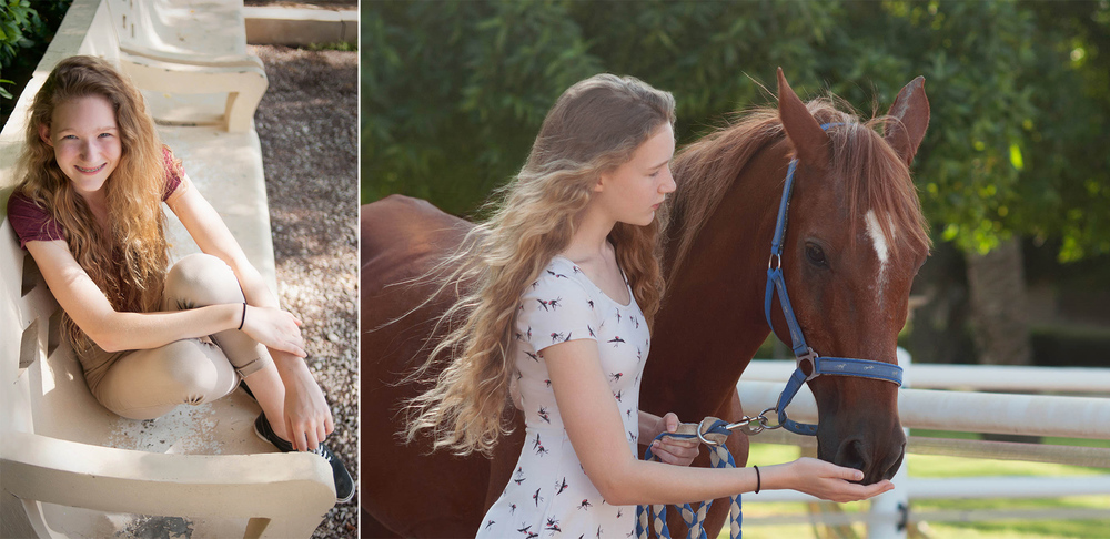 The intimately caring, young daughter, Mckenzie Winner, lover of the horses.