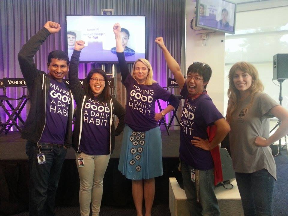 Team picture with Marissa Mayer after pitching the app to the company.