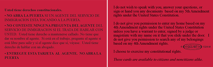 Immigrant Legal Resource Center's Red Cards