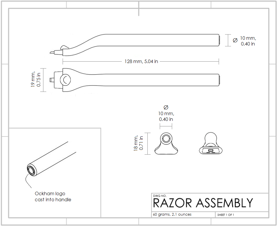 Drawings for the original metal Ockham Razor