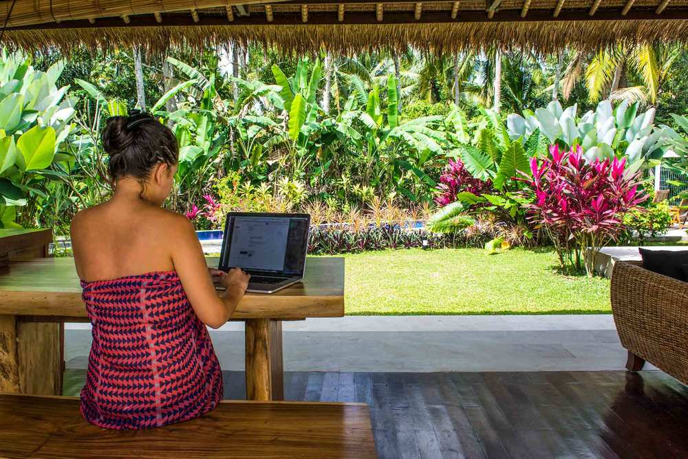 Danika working in the living room of our villa in Ubud, Bali