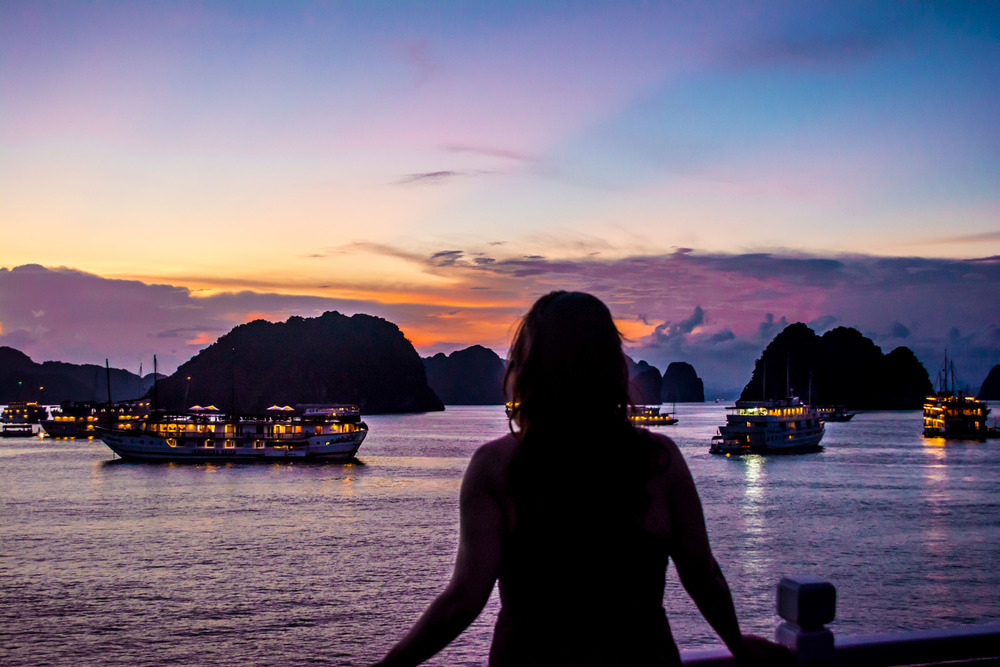 An amazing sunset on Halong Bay, Vietnam