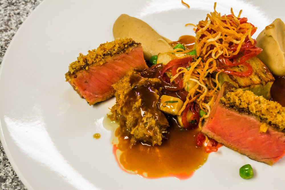 Lamb fillet and  shoulder with hazelnut, celeriac and pomm ann