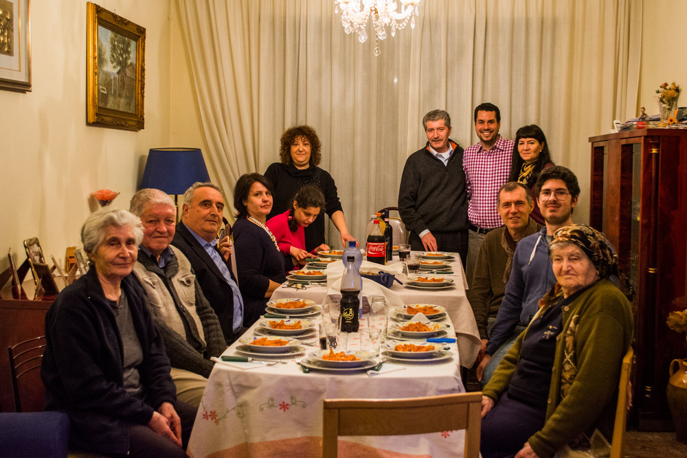 Meeting Chris's family in Rome. Complete with a home cooked, six course meal!