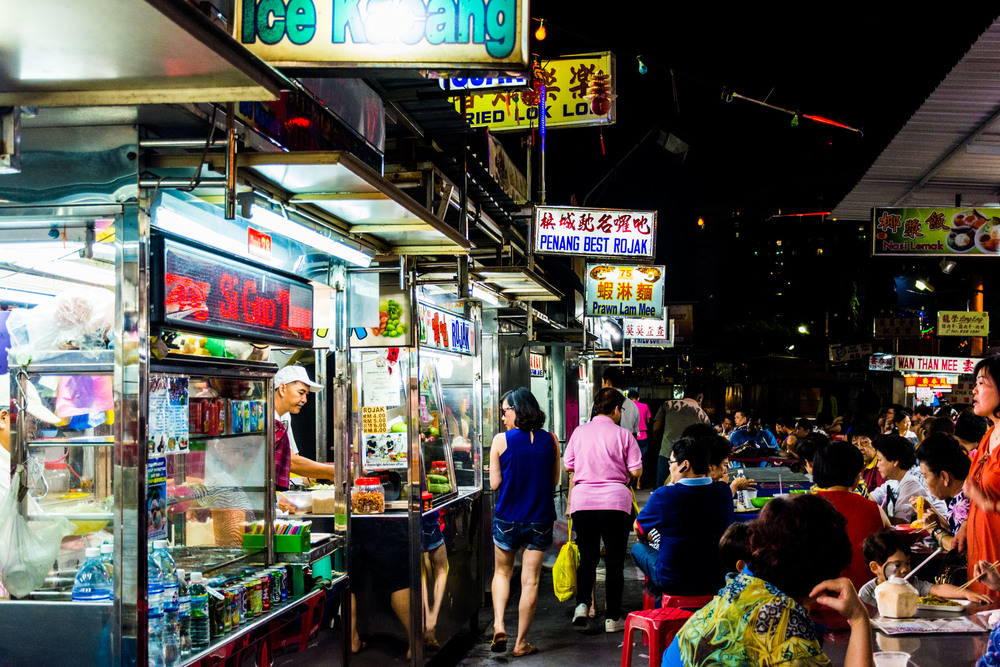 A typical outdoor street food stall in Penang