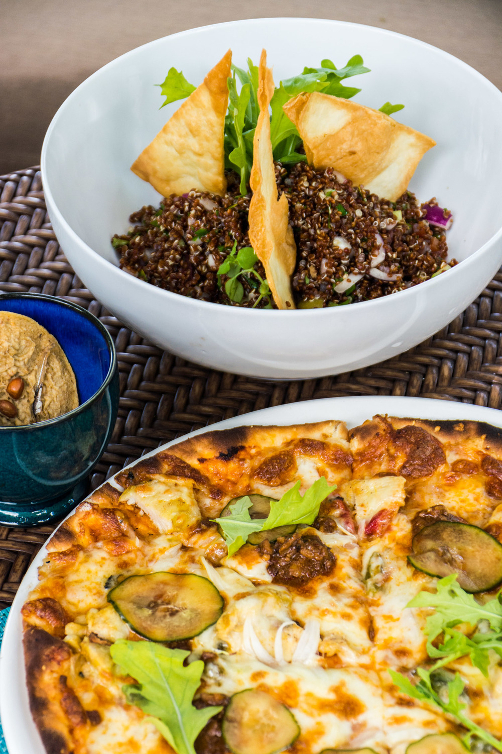 Our daily lunch - quinoa salad and pizza