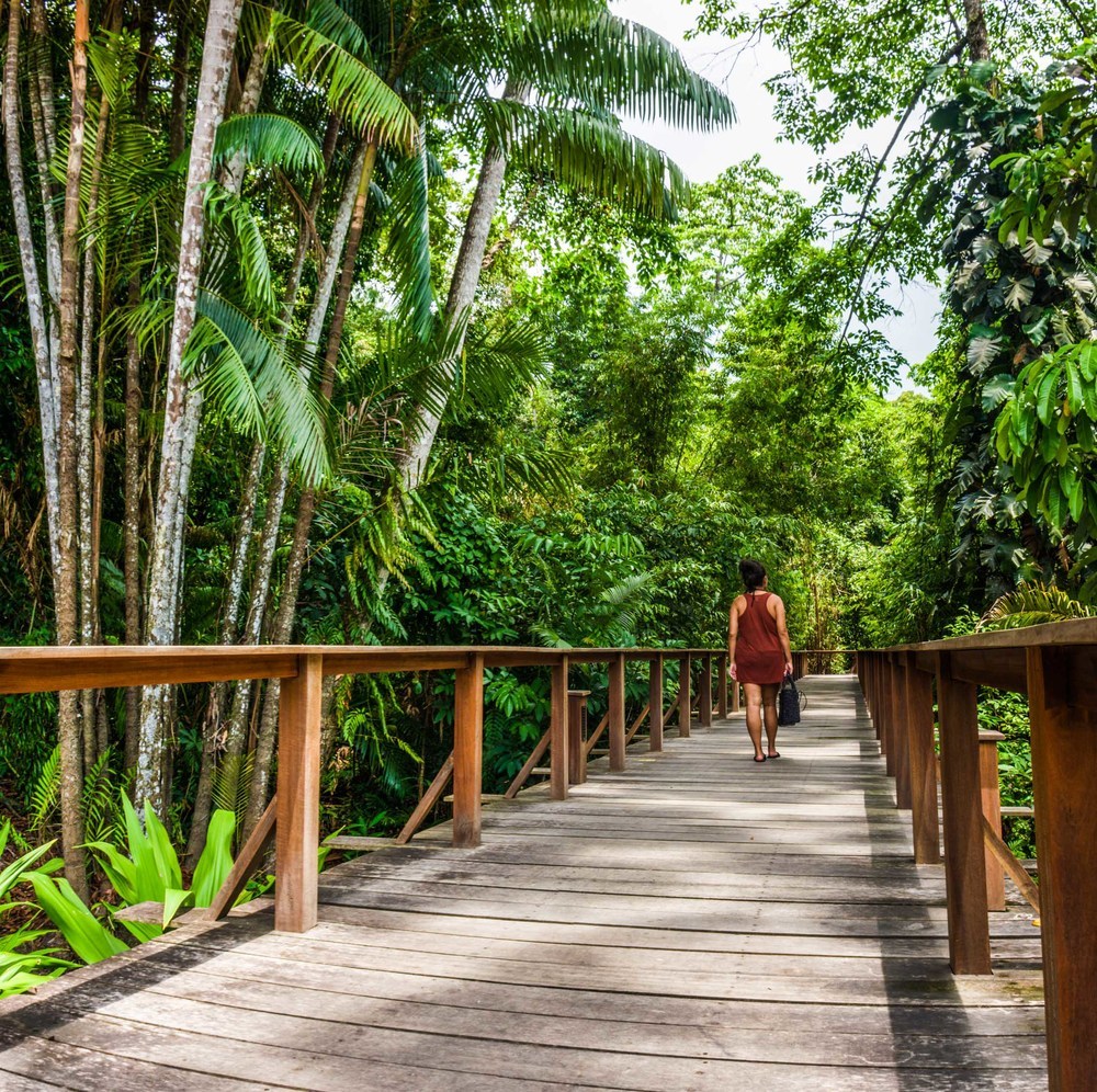 Walking to the spa at the Datai
