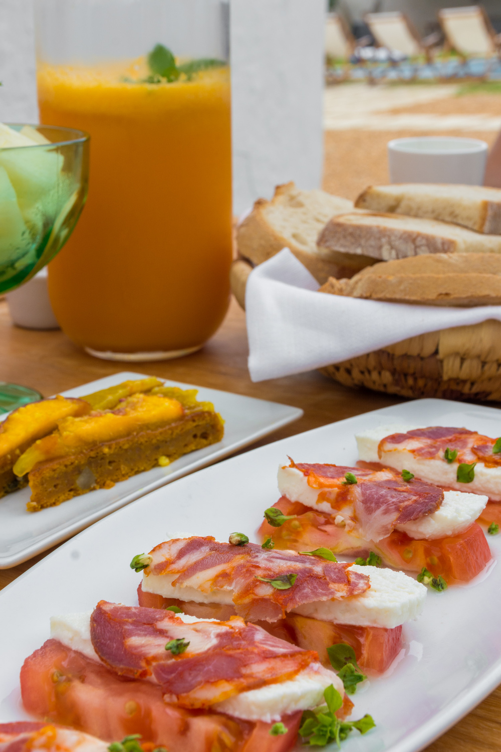 Our daily breakfast always consisted of fresh juice, fruits, pastries, meats & cheeses.